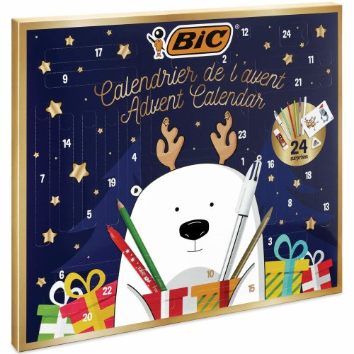 BIC Advent Calendar - 24 Writing Products, 6 Magic Felt Pens/6 Coloured Pencils/4 Colouring Crayons/1 Glue Tube/1 Graphite Pencil/1 Eraser/3 Ball...