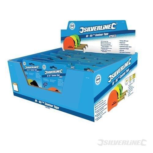 Silverline Hi-vis Contour Tape Display Box 24pce 3m / 10ft x 16mm -  display hivis contour tape x silverline box 3m 16mm 24pce 447133