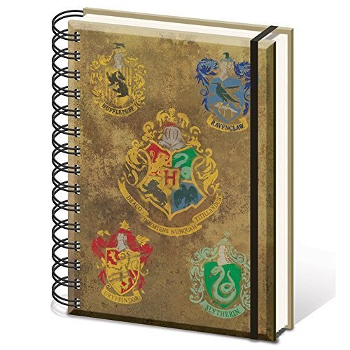 "Harry Potter A5 Sr72083 ""hogwarts Crests"" Notebook - Hogwarts Crests Official -  notebook a5 hogwarts crests official sr72083 lined wiro quibbler"