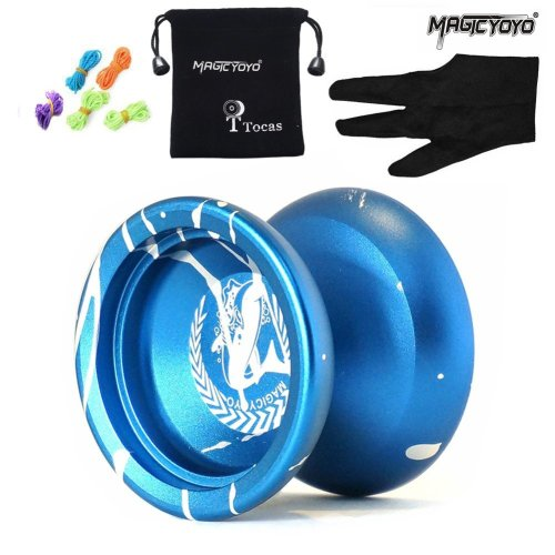 Authentic Magicyoyo N12 Shark Honor Unresponsive Yoyo with Pouch and 5 Strings and Glove, Metal, Professional Toy, Blue