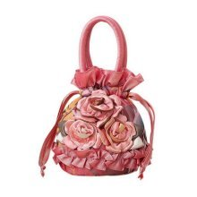Ethnic Style Handbag Embroidered Portable Canvas Bag Mini Coin Purse Orange Pink