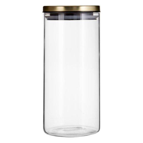 Freska Clear Glass Storage Jar with Gold Metal Lid, 1300ml