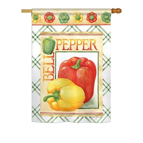 Breeze Decor BD-VG-H-117040-IP-BO-DS02-US Bell Pepper Food - Everyday Vegetable Impressions Decorative Vertical House Flag - 28 x 40 in.