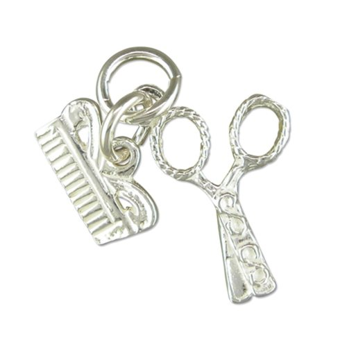Sterling Silver Scissors And Comb Pendant On A Snake Necklace