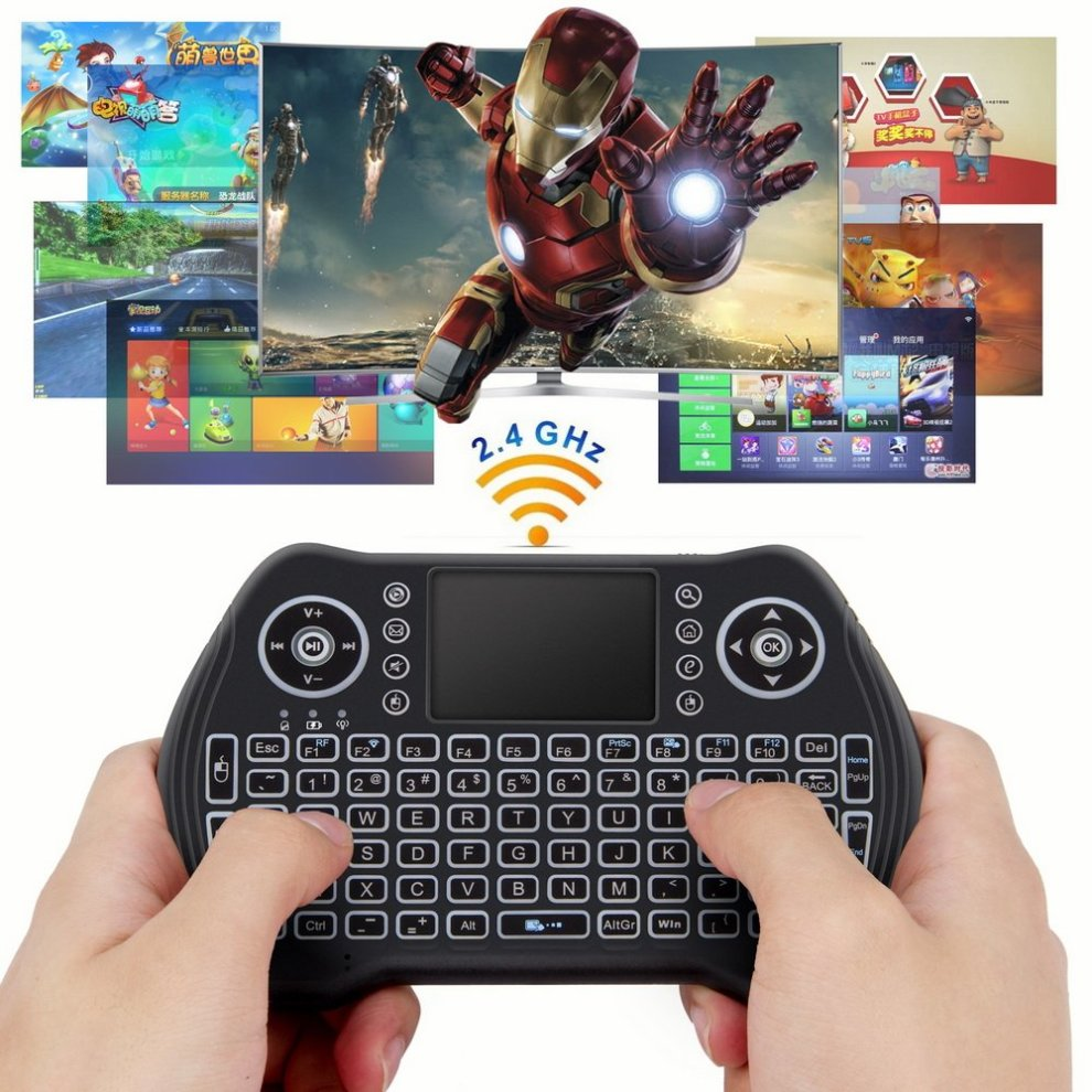 Zedo Backlit Mini Wireless Keyboard 2 4G, Handheld Remote with Touchpad  Mouse for Android TV Box, Windows PC, HTPC, IPTV, Raspberry Pi, XBOX 360,