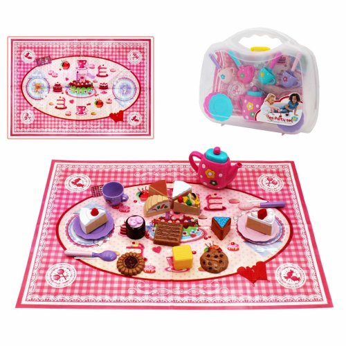 deAO 26pcs Tea Cup and Desert Role Play Pretend Party Play Set for Children with Picnic Blanket and Portable Carry Case