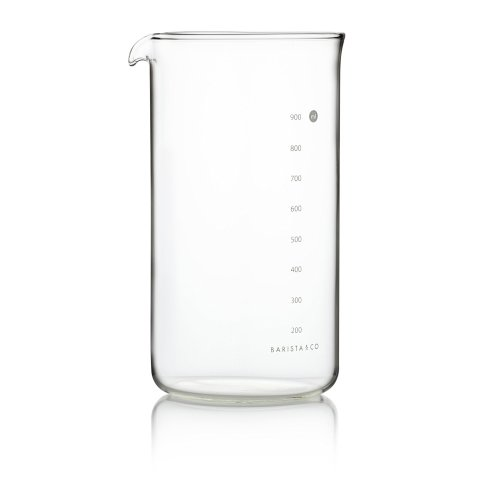 Barista & Co 1000 ml/1 Litre Glass 8-Cup Plunge Pot Cafetiere Refill, White