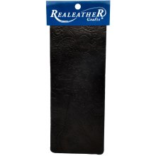 "Realeather Crafts Goat Leather Trim Piece 9""X3""-Black Floral"