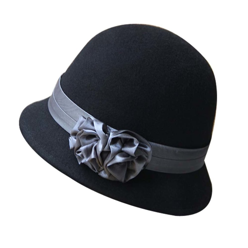 Caps Wine Red Solid Color Roll Brim Bowler Hat Woolen Billycock Hard Felt Hat Cloche