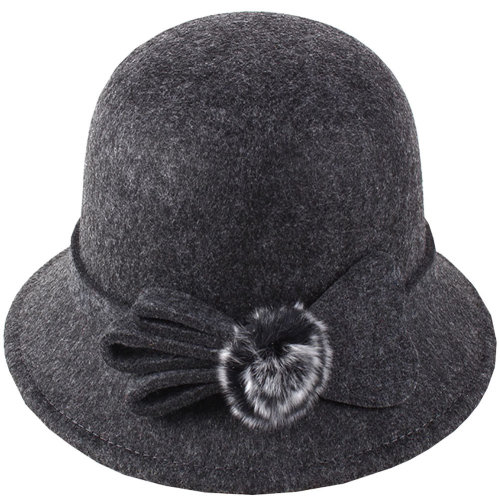 61ae4c13aa465 Women s Felt Elegant Church Cloche Hat Bowler Hat Bucket Hat Winter ...