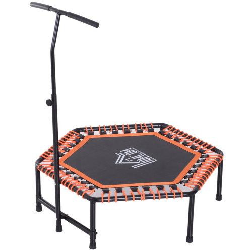 """HOMCOM 48"""" Mini Kids Trampoline Children Rebounder Indoor Outdoor Mini Jumper with Adjustable Handle Hexagonal Orange"""