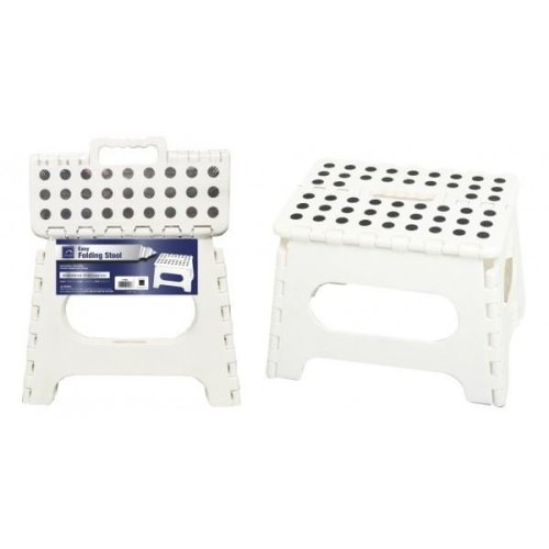 Easy Folding Step Stool White Skid Resistant Max. 100 Kg Home Kitchen Garage