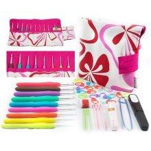 40pcs Aluminum Crochet Hooks Kit Tapestry Needle Weave Yarn Knitting Needles Sewing Bag Case