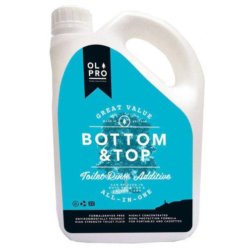 OLPRO Bottom & Top Caravan & Camping Toilet Fluid & Rinse in One (2 Litre) x 4 Bottles