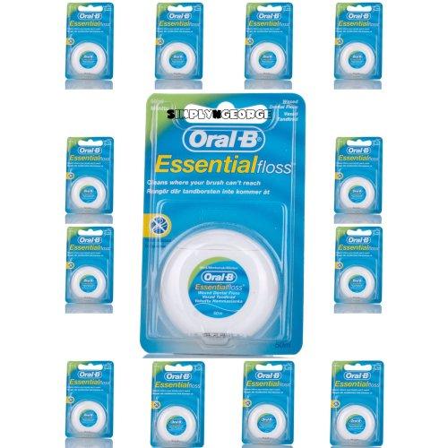 12 X Oral B Floss Essential Mint Waxed MINT DENTAL 50M WAX