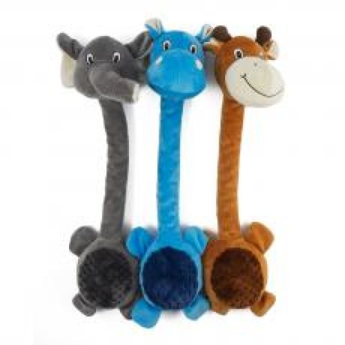 Ancol Ropey Neck Assorted Giraffe/hippo/elephant 49cm (Pack of 3)