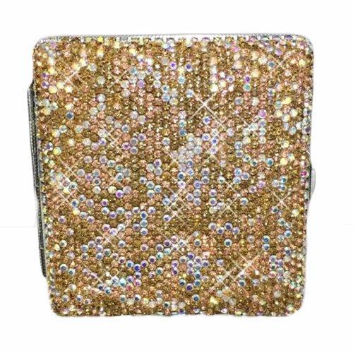 Metal Cigarette Case/Box/Holder Portable Carrying Cigarette Holder Case for Regular Size, Champagne Rhinestones