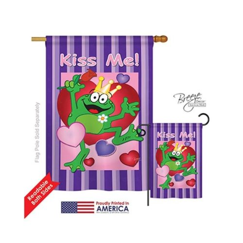 Breeze Decor 01042 Valentines Kiss Me Frog 2-Sided Vertical Impression House Flag - 28 x 40 in.
