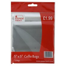 "5"" x 5"" Pack Of 50 Cello Bags - 5x5"" Cello Bags Cellophane Clear Plastic Pockets Sleeves Arts Crafts Stationary"