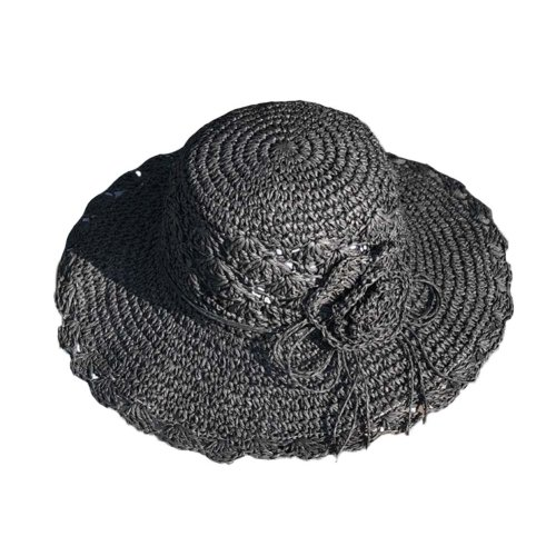 Womens Summer Straw Hat With Flower Foldable Sun Visors Girls Hats, Black