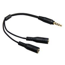TheFlyingWhopper 3.5mm 4 Pin to 2 x 3 Pin 3.5mm Headset Splitter Cable Adaptor M-F