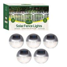 GardenKraft Pack of 5 Solar LED Fence Lights, Silver
