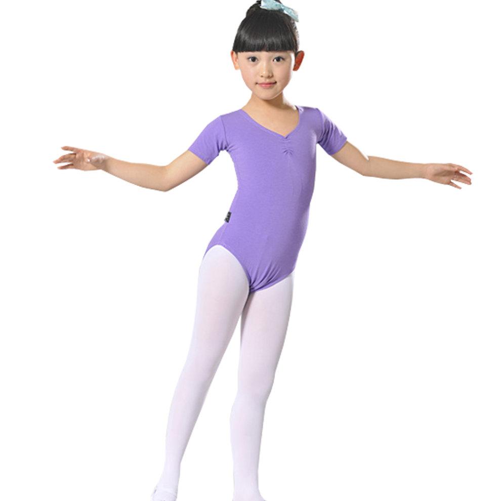 Little Girls' Ballet Dresses Gymnastics Dress Short Sleeve 120cm Purple