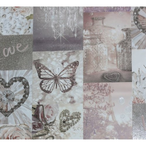 Arthouse Love Paris French Themed Eiffel Tower Roses Decorative Butterflies Hearts Motif  Glitter Wallpaper 691107 Sample