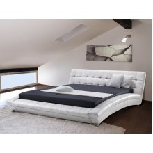 King Size - 5 ft 2 inch - Leather Bed 160x200 cm - incl. stable slatted frame -  LILLE