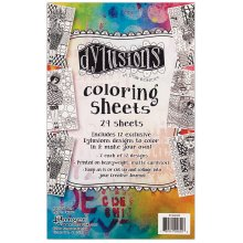 """Dyan Reaveley's Dylusions Coloring Sheets 5""""X8""""-2 Each Of 12 Designs"""