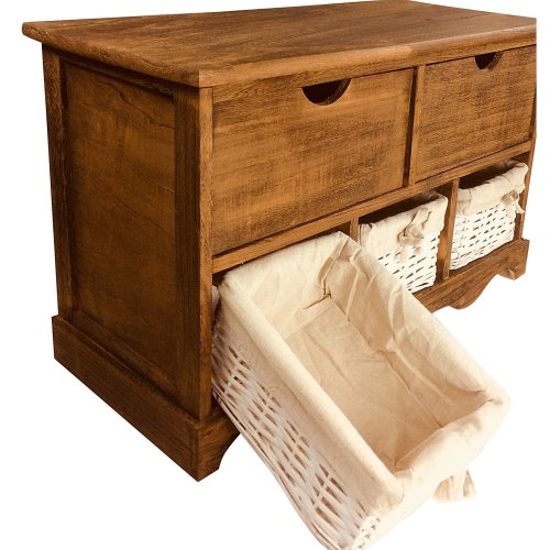 Wood Cabinet With 3 Baskets and 2 Drawers Rustic Wooden Storage Unit