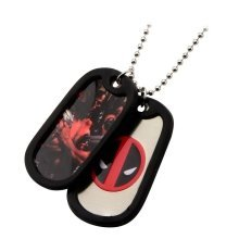 MARVEL COMICS Deadpool Logo and Pose Dog Tags with Black Rubber Rims (DDPLDTML01)