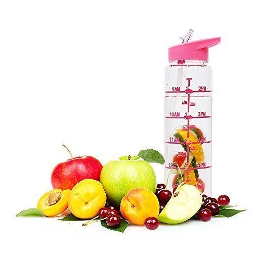 BPA Free Water Bottle with Straw 1 Litre, Flip Straw Lid Water Bottle with Time Markings, Large Water Bottle Kids No Leak Gym Yoga Running, Tritan...