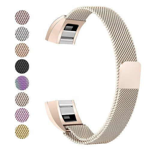 Fitbit Alta Strap, BeneStellar Milanese Stainless Steel Adjustable Replacement Accessory Straps for Fitbit Alta HR and Fitbit Alta (A#Champagne)
