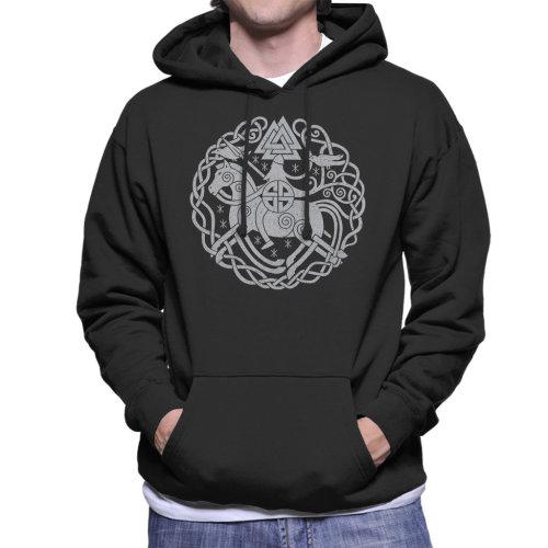 (XX-Large) Odin Norse Viking Symbols Men's Hooded Sweatshirt