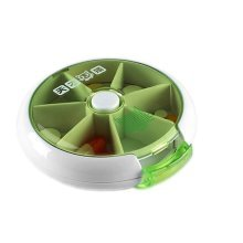 7 Compartment Press Rotation Type Pill Box, Green