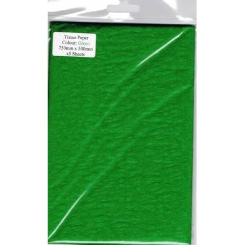 5 Sheets Of Green Tissue Paper 750mm x 500mm