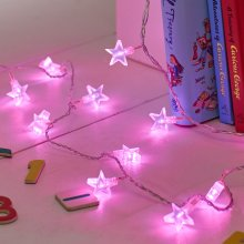 Indoor Star Fairy Lights with 30 Pink LEDs by Lights4fun