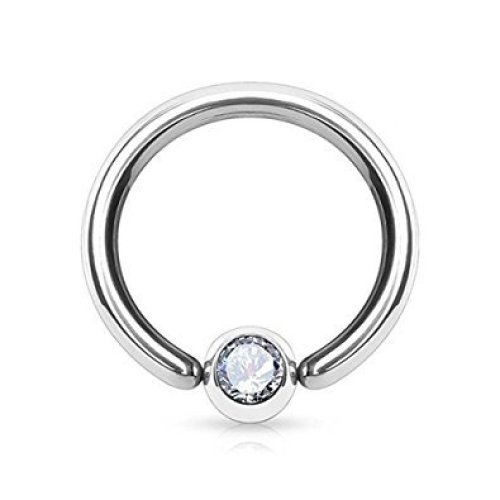 Clear Crystal Ball Attached One End Annealed CBR Captive Bead Ring, Universal Piercing Jewellery Ring