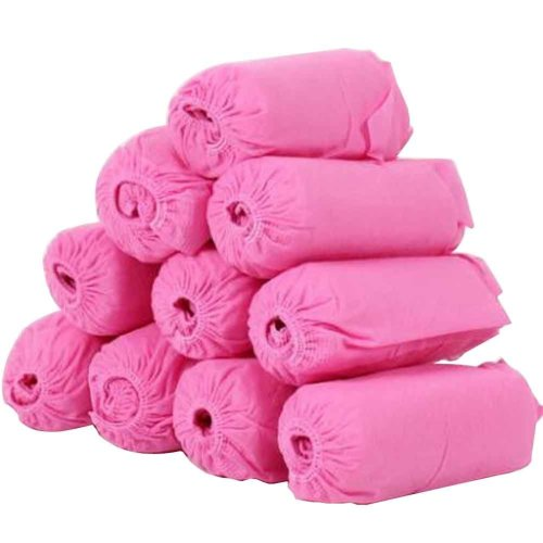 100 Pack Disposable Shoe Covers Non-woven Shoe Covers, Pink