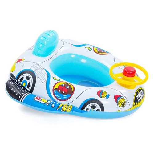 QHYK Inflatable Baby Child Toddler Infant Swimming Seat Float Boat Ring Raft Chair Pool Toy (Speaker Car)