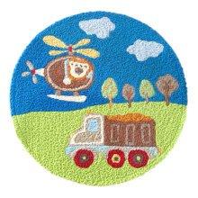 [Plane & Car] Children Bedroom Decor Rug Embroidered Mat Cartoon Carpet,23.62x23.62 inches