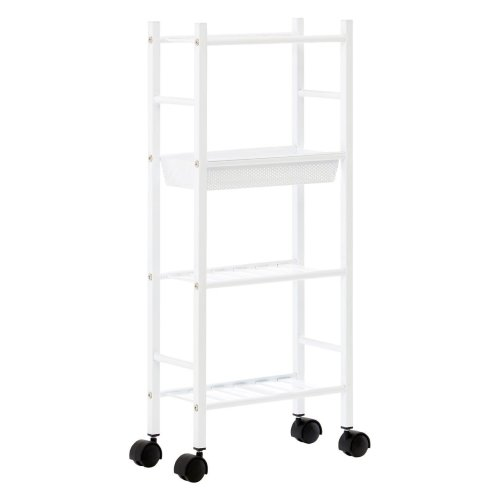 4 Tier White Kitchen Trolley With Integrated Storage Basket
