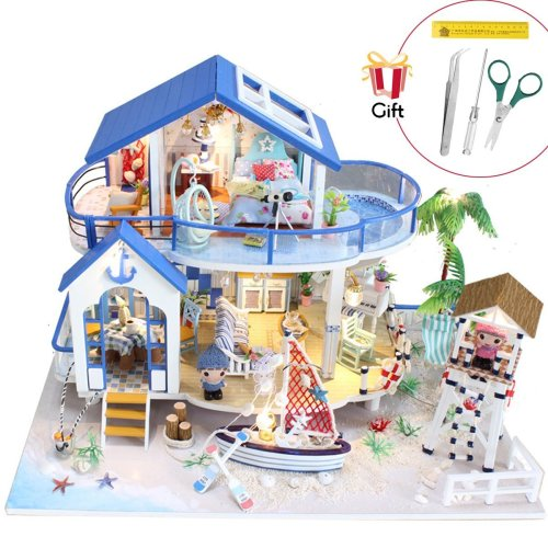 Jeteven DIY Wooden Doll House Miniature Kits Playset for Kids and Adults Christmas Birthday Gift Legend of The Blue Sea 32 x 21.5 x 22 cm