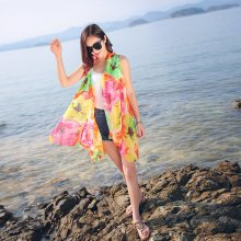Women Vintage Print Floral Beach Towels Chiffon Scarf Outdoor Sunscreen Shawl Scarves