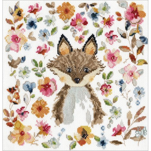 """Design Works Counted Cross Stitch Kit 10""""X10""""-Fox (14 Count)"""
