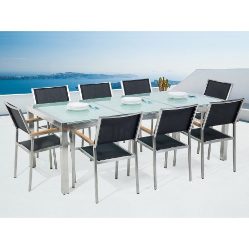 Garden Table and Chairs - Dining Set - 8 Seater - Cracked Ice Glass - Black Chairs - GROSSETO