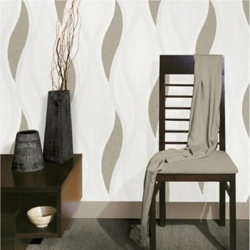 NEW LUXURY DIRECT WALLPAPERS WAVE EMBOSSED TEXTURED METALLIC 10M WALLPAPER (B...