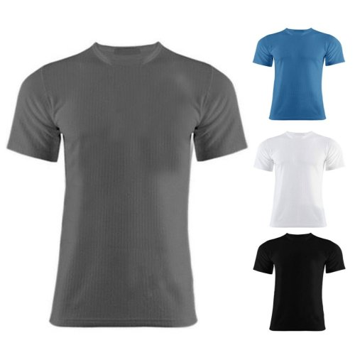 Mens Thermal Short Sleeve Warm Vest Inner Top Underwear Shirt