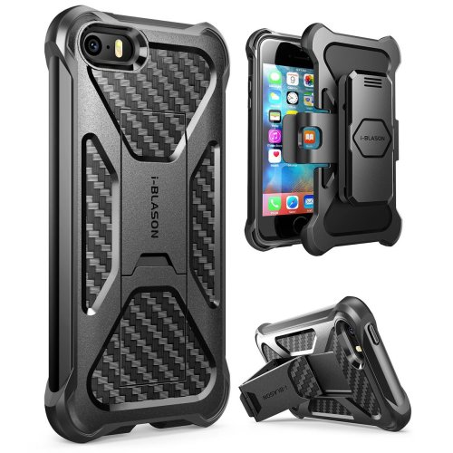 huge discount bd454 954c4 i-Blason iPhone SE Case, Prime [Kickstand] **Heavy Duty** [Dual Layer]  Combo Holster Cover case with [Locking Belt Swivel Clip] for Apple iPhone  SE...